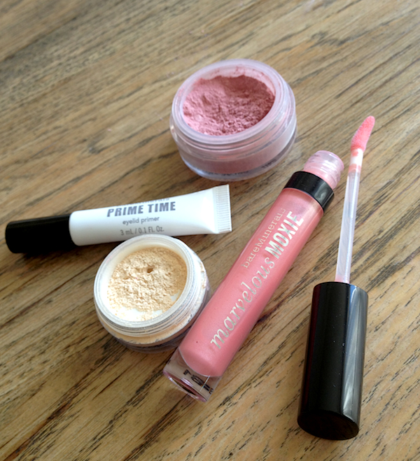 bareMinerals Primetime, radiance, eye shadow & Moxie lipgloss